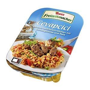 Preisvergleich Produktbild 6 x Buss Freizeitmacher Fertiggericht Cevapcici a 300g Pikante Hackfleischröllchen mit Balkangemüse und Reis