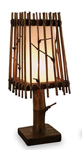 livasia Asiatische Tischlampe Schirm Tischleuchte (Handarbeit) Nachttischlampe Stimmungslampe E27 Fassung - Asiatische Tischleuchte