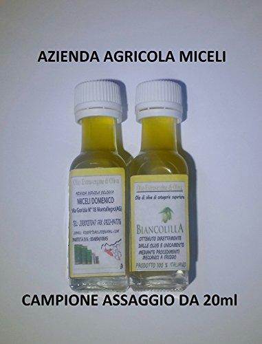 Campione assaggio da 20ml - olio extravergine d'oliva mono varietale biancolilla novello 2017-100% italiano (spedizione gratuita in italia con posta prioritaria) olio delicato