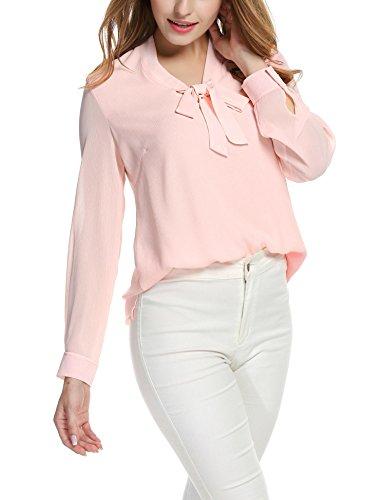 Ceanfly Damen Chiffonbluse Elegant Bluse Festlich Langarm Hemd Schleife V Ausschnitt Business Oberteil Rosa