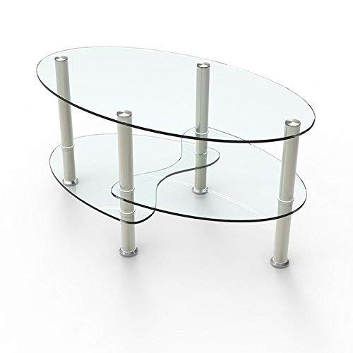 UEnjoy Table basse Table de salon en verre ovale clair avec pieds chromés