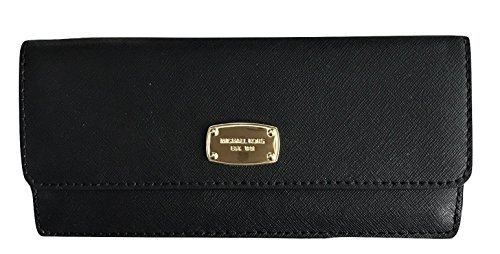 Michael Kors Jet Set Travel Flat Wallet Black Saffiano Leather (Frauen Michael Kors Heels)