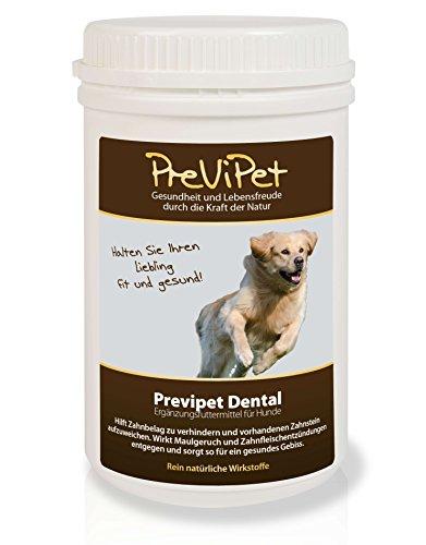 Previpet Dental (Pulver) für Hunde 500g - hilft Zahnbelag zu verhindern und vorhandenen Zahnstein aufzuweichen. Wirkt Maulgeruch und Zahnfleischentzündungen (Entgegen Zähne)