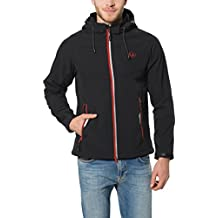 Ultrasport Miro - Chaqueta deportiva Softshell de 3 capas, con capucha extraíble para hombre, color negro / roja, talla XL