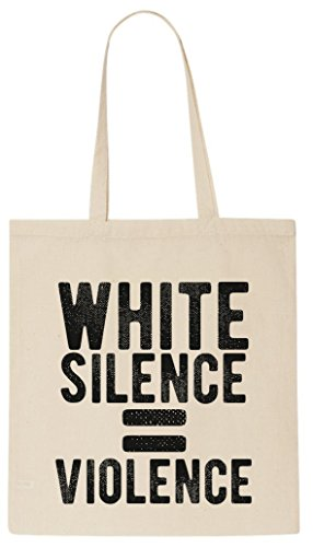 white-silence-equals-violence-tote-shopping-bag