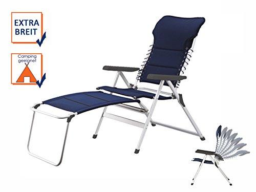 XXL stabiler Hochlehner Campingstuhl gepolstert mit praktischer Fußablage - Ideal zum Relaxen!