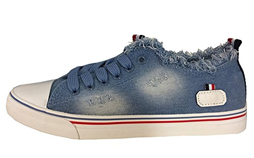 fashion&DU Destroyed Sneaker Turnschuhe Schnürschuhe Halbschuhe Worker Chunk 36-41 Jeansblau (37) (Stoff Chunk)