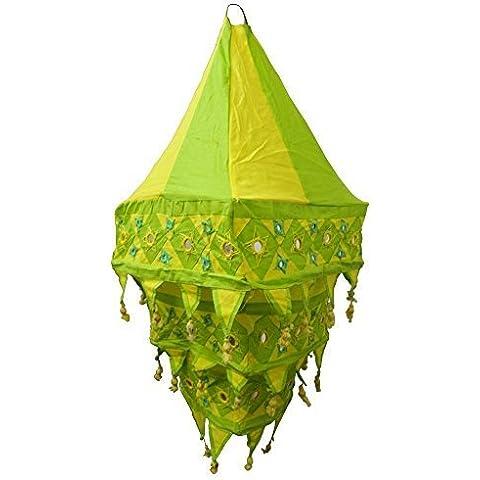 Pantalla lámpara Farol cuadrada 70 cm verde-amarillo algodón patchwork India para colgar iluminación de interior decoración