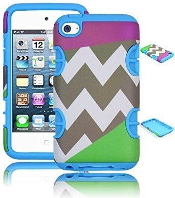 Bastex Hybrid Hard Case Schutzhülle für Apple iPod Touch 4, 4. Generation, Silikon, Himmelblau mit Grün-Chevron-Muster, Violett Ipod Touch 4 Hybrid