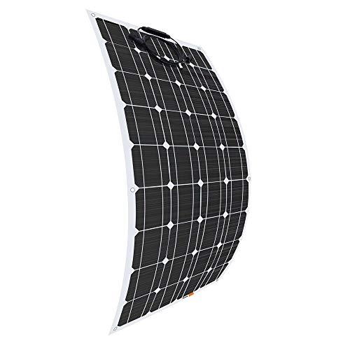 Giosolar Panel solar fotovoltaico de alta eficiencia, 100W, 12V, flexible, monocristalino para autocaravanas, caravanas, barcos o yates, etc.