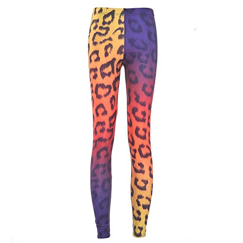 PFJWFE Mode Regenbogen Leopard Muster Cheetah Druckt Sexy Mädchen Bleistift Hosen Slim Fitness Frauen Leggings Plus Größe (Frauen Leggings Cheetah Für)