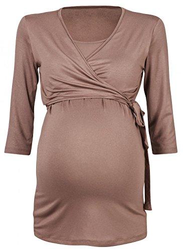 Happy Mama Femme. Top boléro maternité T-shirt chemisier d'allaitement. 458p Cappuccino