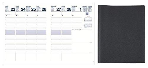 Agenda Semainier Civil 2015 - Couverture grainée : Noir - Format de Bureau : 21x27 cm