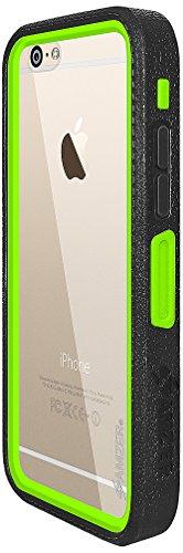 Coque Amzer Crusta Étui robuste avec verre trempé edge2edge et clip ceinture pour iPhone 6Noir/Gris Espace modèle uniquement–Parent Black/Green /White