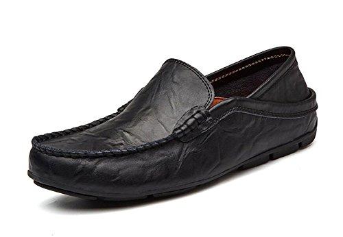 Uomini Slip-On Oxford Scarpe Pantaloni Scarpe Traspiranti Mocassini Mocassino In Pelle Di Guida Scarpe Pedale Black