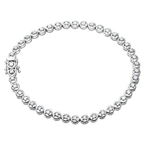 Naava Women's Round Brilliant 1.00 ct Diamond 9 ct White Gold Tennis Bracelet of 19 cm