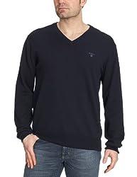 GANT Mens Lightweight Cotton V-Neck Sweater, Navy, L