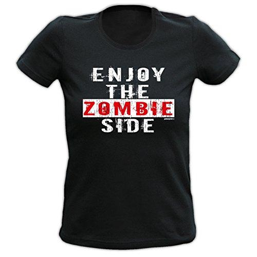Halloween Girlie Shirt ::: Enjoy the Zombie Side ::: Halloween for Girls Schwarz
