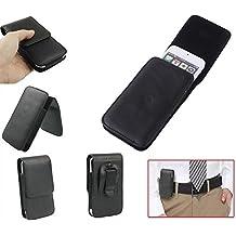 DFV mobile - Leather Flip Belt Clip Case Holster Vertical for => THL V9 HD (2012) > Black