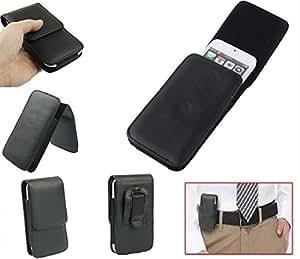 DFV mobile - Leather Flip Belt Clip Case Holster Vertical for => ZTE BOOST WARP 4G, N9510 > Black