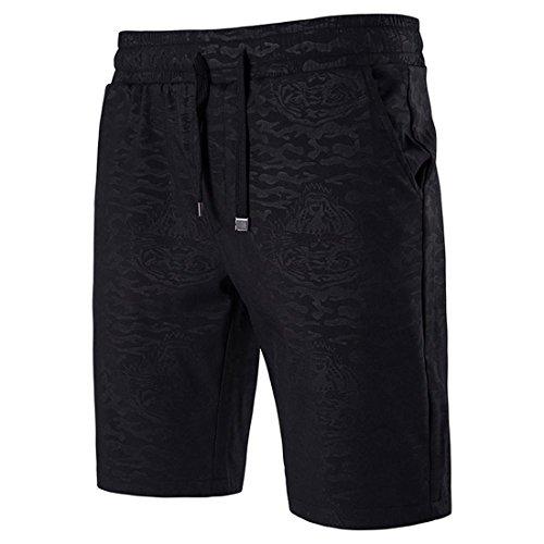 Malloom® Herren Badeshorts Bermudashorts Sommer Gerade Kordelzug lose Shorts Beiläufige Strand Badeshorts (L/Taille 70cm, Schwarz)