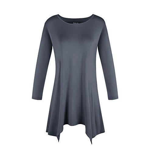 DODOING Damen Runder Ausschnitt Casual Shirt Frauen 3/4 Ärmel Tunika Oberteile Tunikabluse Basics T-Shirt Blusen Tops (Drape Cami)