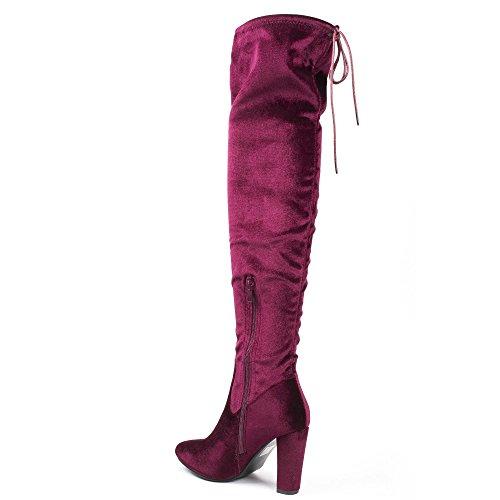 Ideal Shoes - Cuissardes effet velours et talon épais myriam Bordeaux