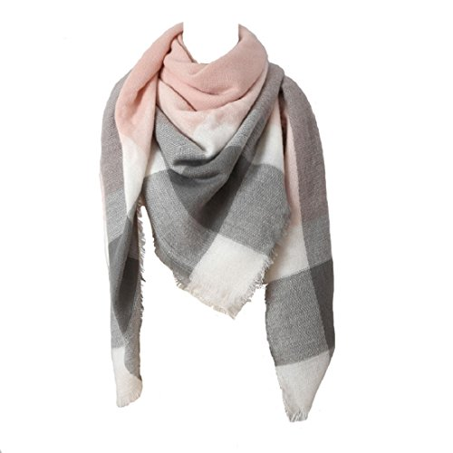 Damen Winter Schal Imitation Kaschmir Bunt Quadratisch Deckenschal 140*140cm Rosa