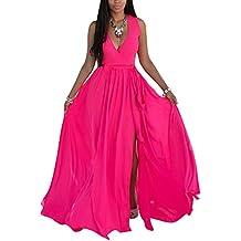 Vestido de Fiesta Mujeres Talla Grande sin Manga V-Cuello Maxi Vestido de Partido