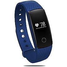 [Nueva Versión] Deportes Pulsera, PALADY ID107 Bluetooth 4.0 Inteligente Pulsera SmartBand Monitor de ritmo cardíaco deporte pulsera Fitness Tracker Reloj de Pulsera Compatible con iPhone y Android Smartphone Color Azul