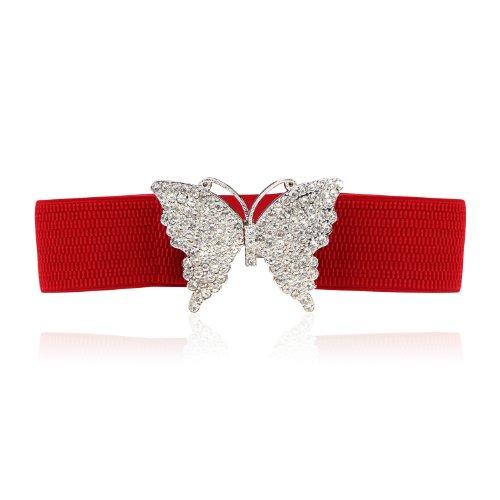 Höter Damen Gürtel Mit Diamante Schmetterling, Elastischer Gürtel, Tolles Accessoire Als Blickfang, Rot (Elastischen Cinch-gürtel)
