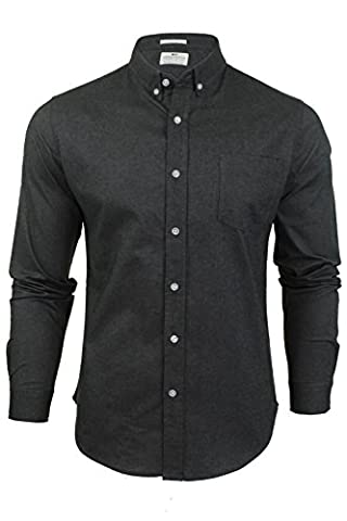 Mens Oxford Shirt by Crosshatch 'Almond' Long Sleeved (Black) L