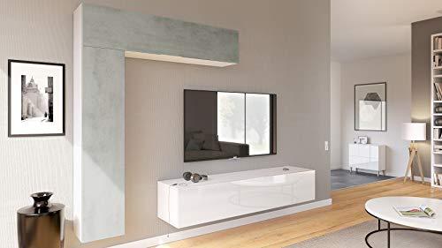 Vladon Wohnwand Anbauwand Taurito, Korpus in Weiß matt/Fronten in Weiß Hochglanz und Beton Oxid Optik - Media Schränke Mit Türen