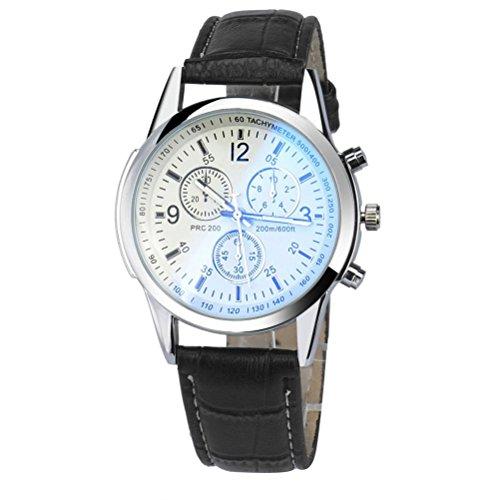 Uhren DELLIN Luxus-Mode Kunstleder Herren analoge Uhr Uhren (B Schwarz)