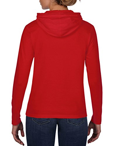 Anvil 887L - T-shirt - Uni - À Capuche - Manches Longues - Femme - Red/Dark Grey