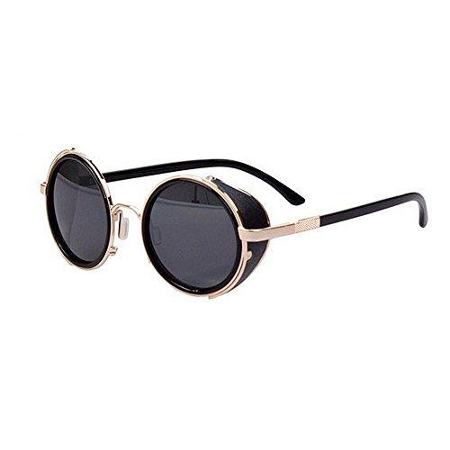 Ppy778 Polarisierte Sonnenbrille Unisex Klassische Runde Metallrahmen Retro Sonnenbrille (Color : Black)