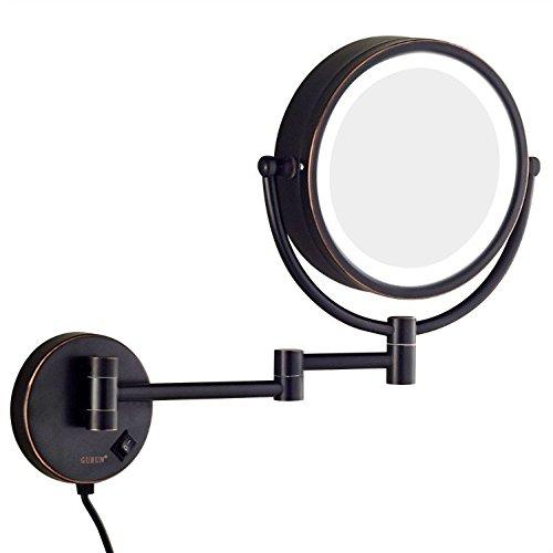 GuRun Schminkspiegel mit Beleuchtung 1+10 Fach Vergroesserung, durchmesser 20cm, öl eingerieben Bronze M1809DO(20CM,10X)