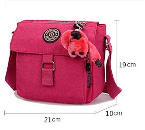 Womens Lightweight Nylon Cross-Body sac à bandoulière Casual Messenger Bag brilliant purple