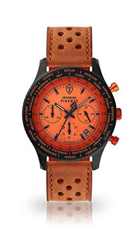 DETOMASO FIRENZE Orologio da uomo Cronografo analogico Quarzo marrone chiaro da corsa cinturino in pelle arancione quadrante SL1624C-OR-838