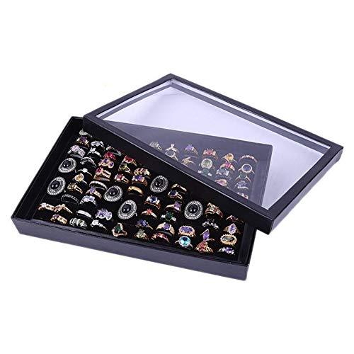 MAyouth Schmuck Ring Ohrringe Display Organizer Box, 100 Slots Velvet Showcase Aufbewahrungskoffer Halter Fach Schmuck Organizer Boxen mit Deckel -