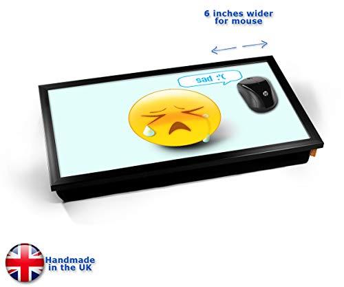 Sad Emoticon Emoji Cushioned Bean Bag Laptop Lap Tray Desk - Built-in EMF Shield (Electro Magnetic...