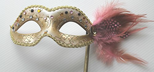 Venezianische Maskerade Partei Karneval Maske und Federn auf einem Stick/Stock - Handgehalten (Stick Auf Masken Für Maskeraden)
