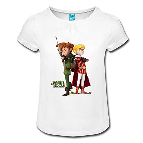 Spreadshirt Robin Hood Schlitzohr Von Sherwood Prinz John Mädchen-T-Shirt mit Raffungen, 6 Jahre, Weiß