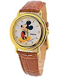 Disney Unisex Watch Mickey Mouse Vintage. Gold-Tone Analog Display. (brown)