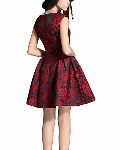 Damenbekleidung Kleid Frühling und Sommer neue Mode Jacquard Retro Weste Kleid wine red (Red Kleid Flapper Mode)