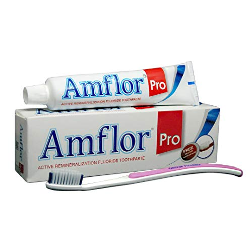 Amflor Pro Toothpaste - 100g with Free Orthodontic Toothbrush