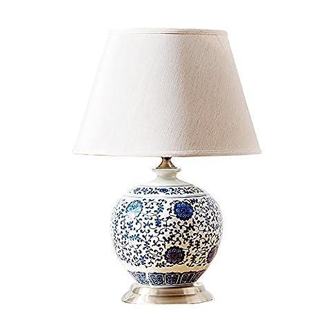 Led Schreibtischlampe Dimmbar High End Klassischen Chinesischen Modernen Blauen Und Weißen Porzellan Stoff Led E27 Tischlampe Für Wohnzimmer Schlafzimmer H 50Cm (Porzellan Stoff)