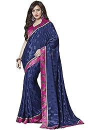 Fabfirki Women Silk Saree (Fs124-1104 _Dark Blue _Free Size)