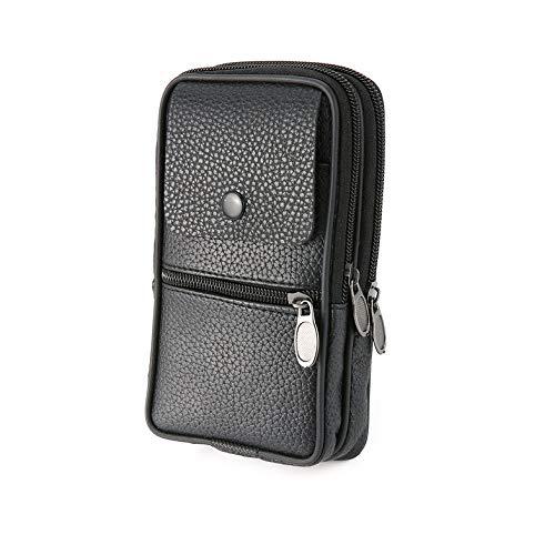 CamKpell Pu-Leder reißverschluss gürteltasche reisebrieftaschen Mode multifunktions männer hüfttasche tragbare Handytasche für Camping wandern - schwarz