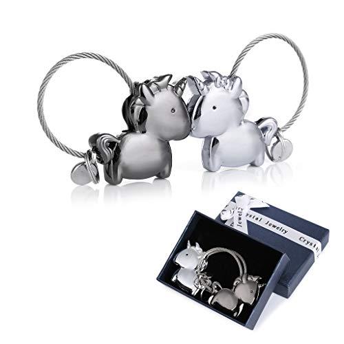 Crazy-M Lovers Keychain 1 par Colgante de Unicornio con Boca magnética, imán Llavero removible diseño Personalizado, Regalo para Pareja Amante (Plata y Negro)